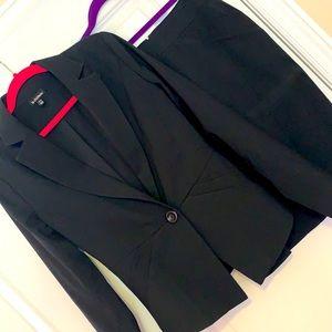 Le Chateau Navy Pinstripe Skirt Suit